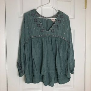 Knox Rose Teal Embroidered Peasant Top